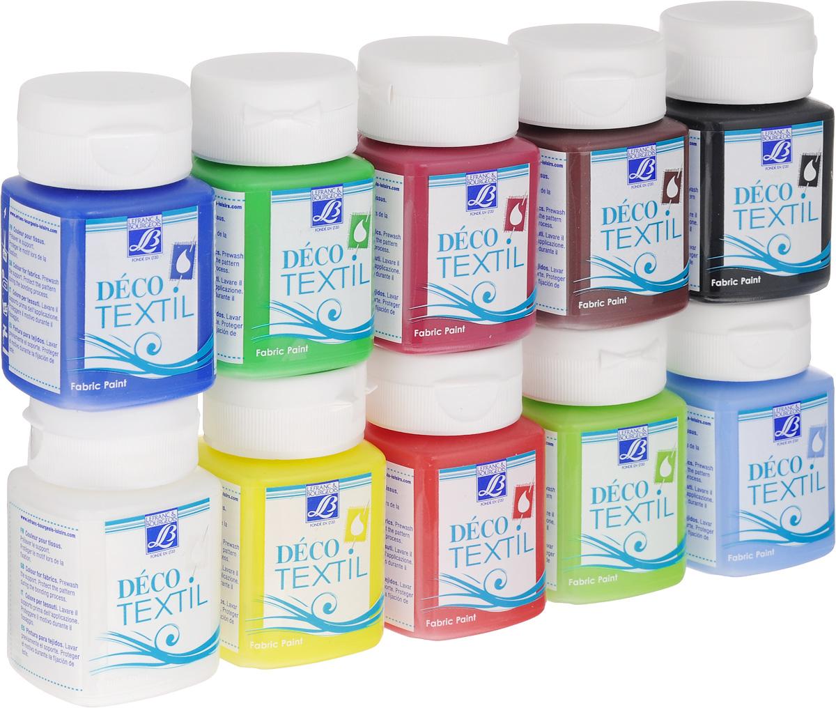 Набор красок для ткани Lefranc & Bourgeois Deco Textil, 50 мл, 10 шт масло льняное полимерезиновое lefranc