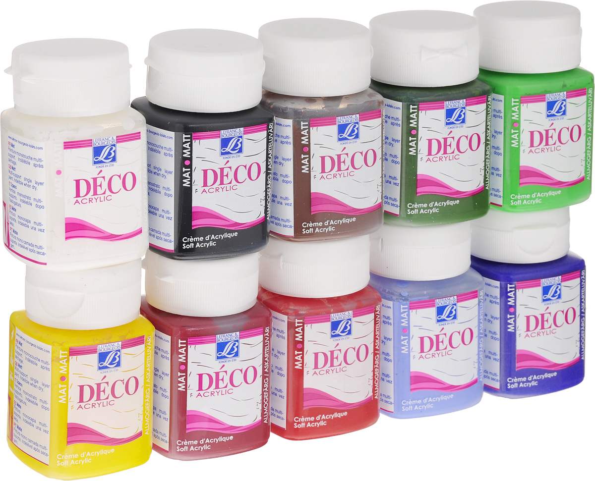 Набор акриловых красок Lefranc & Bourgeois Deco Matt, 50 мл, 10 штLF210531Набор Lefranc & Bourgeois Deco Matt включает 10 акриловых красок разных цветов с эффектом матового покрытия, предназначенных для художественных ремесел и хобби. Краски произведены по специальной рецептуре для усиления сцепления на всех впитывающих поверхностях. Идеально подходят для окрашивания дерева, бумаги, картона, оштукатуренных поверхностей, моделирующей пасты, глины, соломки, стен с матовым эмульсионным покрытием, тканей, не допускающих стирки. Также краски можно использовать для невпитывающих поверхностей: стекло, металл (металлические поверхности должны быть загрунтованы), пластик. Высокая насыщенность красок создает эффект нежного бархатистого покрытия. Взаимосмешиваемы. Прочное матовое покрытие обладает пылезащитными свойствами.
