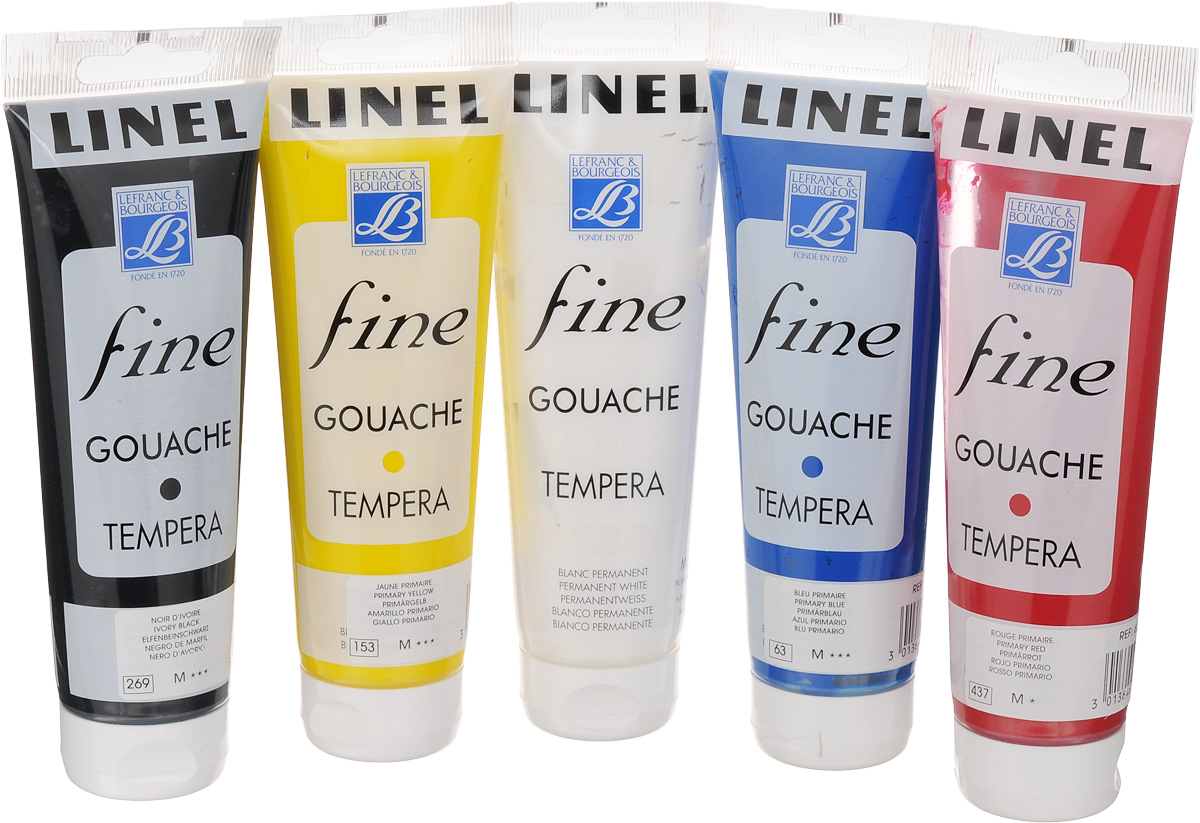 Набор гуаши Lefranc & Bourgeois Fine Linel, 120 мл, 5 шт масло льняное полимерезиновое lefranc
