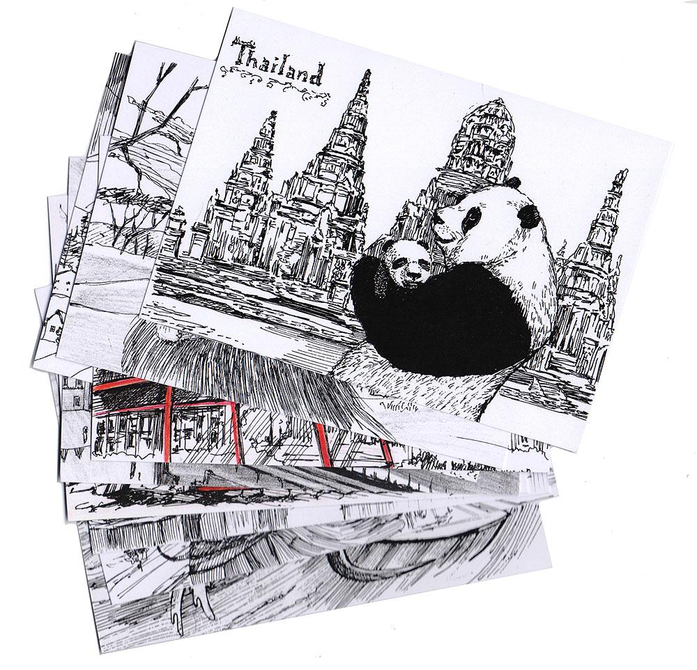 Комплект открыток Animals countries (комплект из 9 открыток)ОТКР №96Комплект из 9 дизайнерских открыток. Дизайнерские открытки. На лицевой стороне изображены животные разных стран на фоне архитектурных сооружений и ландшафтов, характерных для этих стран. Набросок, скетч.Автор рисунков - Анастасия Панкова.Размер открыток: 10.5 х 15 см.В комплект вошли:«Animals countries» Австралия (лицевая сторона напечатана с двух сторон), «Animals countries» Англия,«Animals countries» Африка,«Animals countries» Испания,«Animals countries» Индия,«Animals countries» Мексика,«Animals countries» Россия,«Animals countries» Таиланд,«Animals countries» Швейцария.