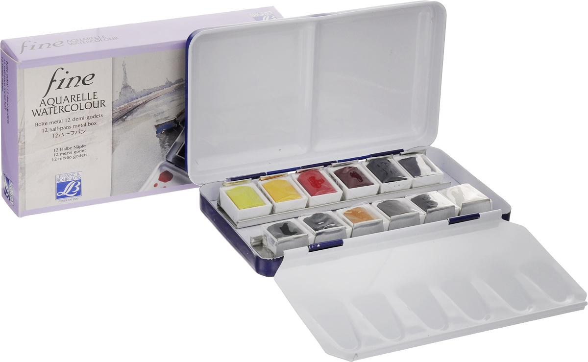 Набор акварели Lefranc & Bourgeois Fine, 12 цветовLF601659Набор Lefranc & Bourgeois Fine включает акварельные краски 12 цветов. Твердые краски в кюветах и металлической коробке, которая может быть использована как палитра. Краски замечательного качества, это тонко-растертые пигменты высших сортов.Размер металлической коробки: 13 х 7 х 2 см.