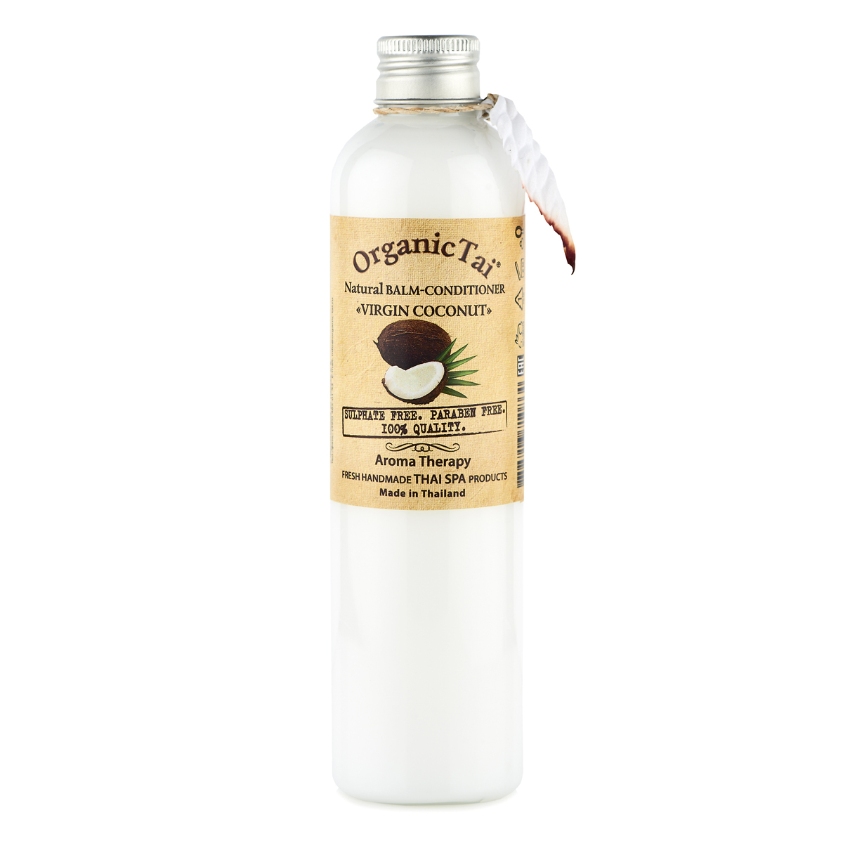 OrganicTai Натуральный бальзам-кондиционер «ВИРДЖИН КОКОС» 260 мл8858816710864Идеален при чувствительной коже. Подходит для ежедневного использования. РУЧНАЯ РАБОТА. ТАЙСКИЙ SPA. АРОМАТЕРАПИЯ. Уникальная формула. Не содержит воду, консерванты парабены и синтетические пенящиеся вещества сульфаты (без SLS, SLES и др.). КОКОСОВОЕ МАСЛО ХОЛОДНОГО ОТЖИМА и высокая концентрация органических масел и экстрактов МОРСКИХ ВОДОРОСЛЕЙ, ЗЕЛЕНОГО ЧАЯ, ОГУРЦА, ГРЕЙПФРУТА, ЛАВАНДЫ, ЖОЖОБА, АЛОЭ ВЕРА, ГРЕЙПФРУТА, а также ПАНТЕНОЛ, ПРОТЕИНЫ ПШЕНИЦЫ и РАСТИТЕЛЬНЫЙ ВОСК активизируют рост волос, увлажняют и питают, не утяжеляя их, успокаивают кожу головы, придают волосам естественный натуральный блеск и шелковистость, облегчают расчесывание. Бальзам-кондиционер имеет легкий приятный тропический аромат свежеразломленного кокоса. Этот эликсир красоты поразит Вас своей эффективностью и очарует притягательным ароматом. AromaTherapy FRESH HANDMADE THAI SPA PRODUCTS. SULPHATE FREE. PARABEN FREE. 100% QUALITY.