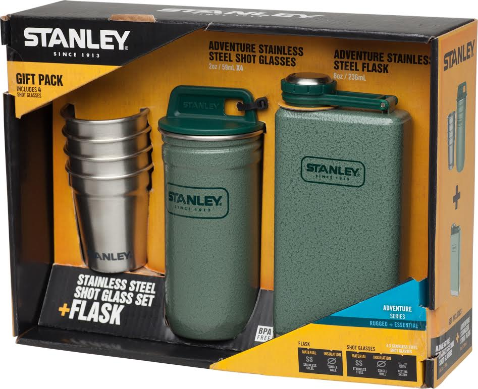 Набор стопок Stanley Adventure, цвет: зеленый, стальной, 6 предметов10-01883-002Набор стопок Stanley Adventure включает 4 стопки, футляр и флягу. Предметы выполнены из высококачественной нержавеющей стали. Изделия отличаются высоким качеством, компактностью, стойкостью кпоявлению ржавчины.Футляр оснащен завинчивающейсяпластиковой крышкой. Набор очень компактный и не занимает много места, его удобнобрать с собой в поездки и на природу. Набор пригоден для мытья в посудомоечной машине. Объем стопок: 59 мл.Объем фляги: 236 мл.Размер стопок: 5 х 5 х 5,5 см.Размер футляра: 5,8 х 5,8 х 13 см.Размер фляги: 6,7 х 2,5 х 15 см.