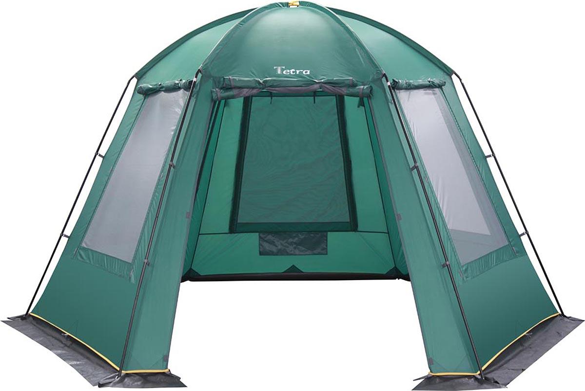"""Greenell """"Тетра"""" - каркасный шатер с большим внутренним пространством. Стенки из антимоскитной сетки дублируются непромокаемой тканью.  Внутри есть подвесной карман для различных вещей. Благодаря трём входам с разных сторон попасть внутрь помещения легко. Тент изготовлен из прочной ткани. Швы проклеены для дополнительной защиты от ветра и дождя. Материалы каркаса: Fiberglass 9,5 мм / Steel 19 мм. Ткань тента: Poly Taffeta 190T PU 3000. Вес макс: 11,08 кг. Водостойкость тента: 3000 мм/в.ст. Габаритные размеры сумки: 79 х 34 х 34 см. Размер в разобранном виде: 3,8 х 3,8 х 2,2 м."""