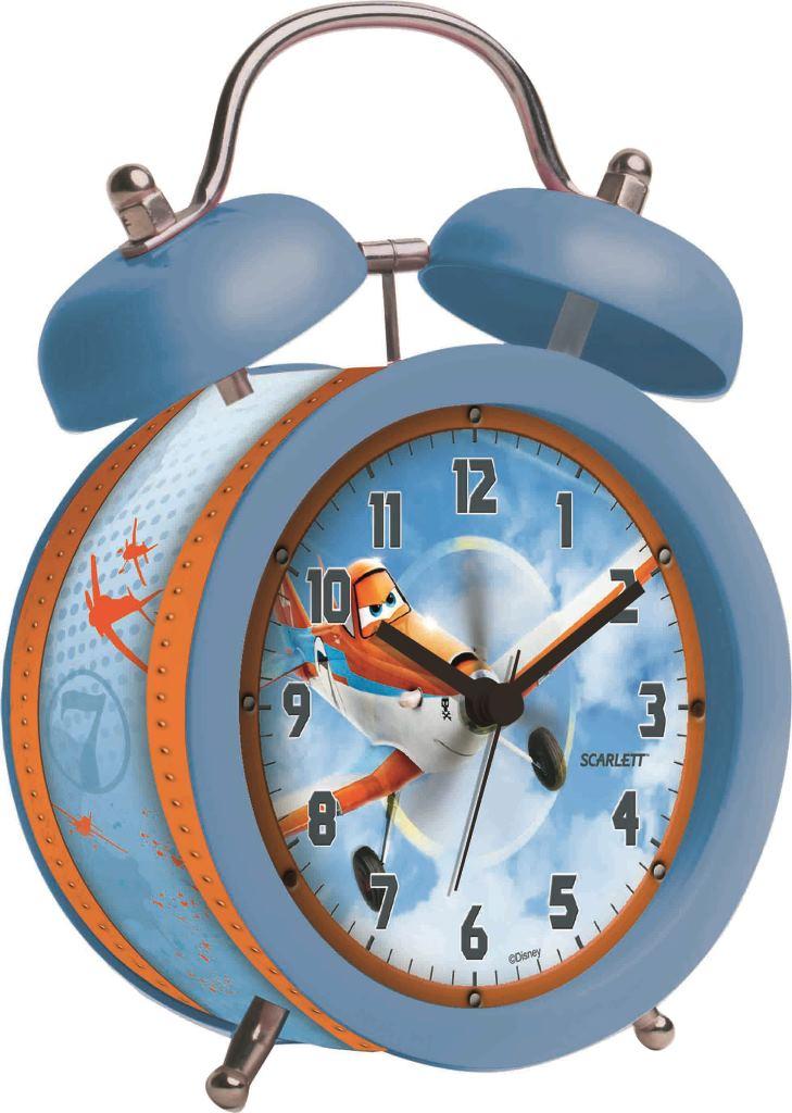 """Будильник """"Scarlett"""" с надежным кварцевым механизмом - это  не только функциональное устройство, но и оригинальный  элемент декора, который великолепно впишется в интерьер  детской комнаты.  Он снабжен четырьмя стрелками: часовой, минутной,  секундной и стрелкой завода. Циферблат оформлен  изображением Дасти из мультфильма """"Самолеты"""". Сверху  будильника располагается механический звонок, работает до  его отключения.   Сигнал будильника электронный, работает до его отключения.  Отличительной особенностью этого будильника является  то, что он обладает плавным, бесшумным ходом. Будильник  работает от 1 батарейки типа АА напряжением 1,5 В  (батарейка в комплект не входит).  Будильник """"Scarlett"""" - это надежность, качество и изящность  стиля во все времена."""
