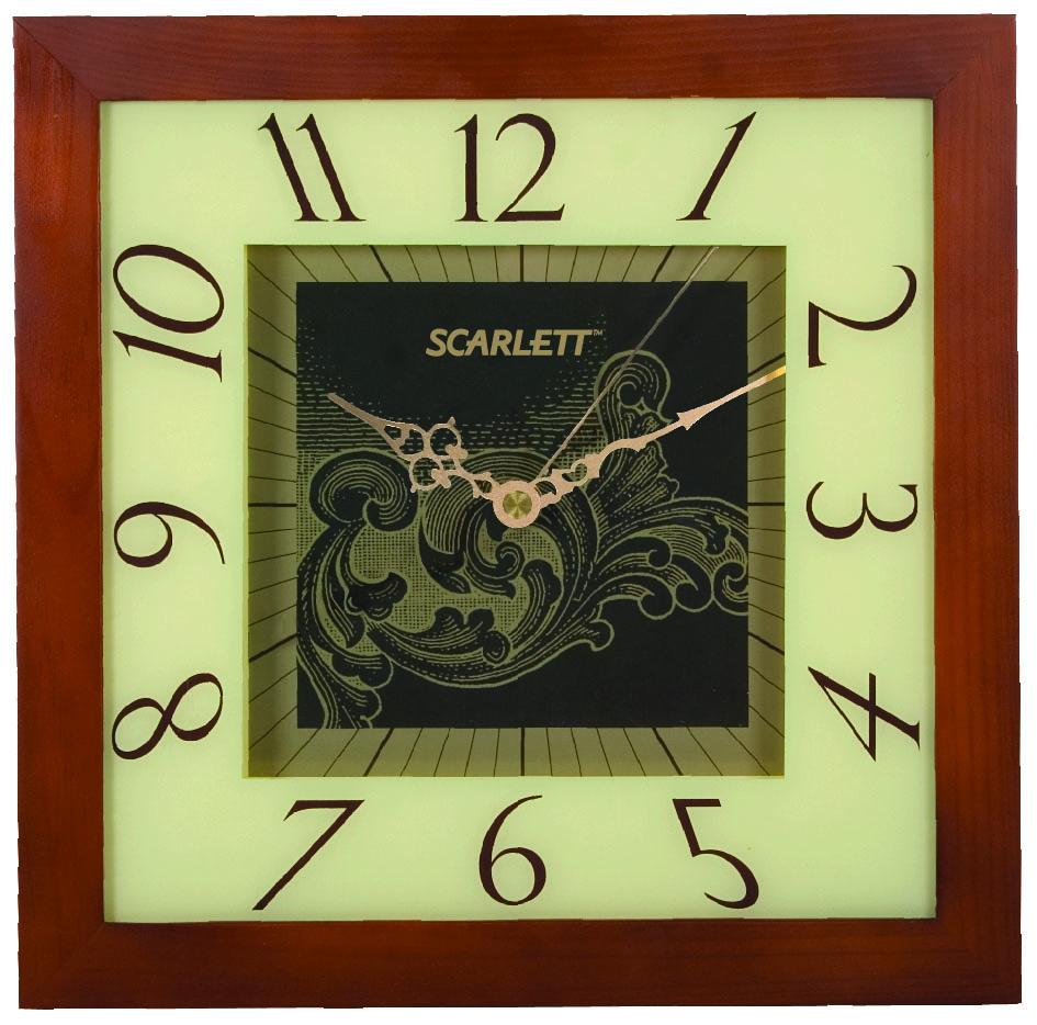 Часы настенные Scarlett, 32 х 32 см. SC - 33CSC - 33CНастенные кварцевые часы Scarlett в классическом дизайне,изготовленные из дерева, прекрасно впишутся в интерьервашего дома. Квадратные часы имеют три стрелки: часовую,минутную и секундную, циферблат защищен прозрачнымпластиком.Часы работают от 1 батарейки типа АА напряжением 1,5 В(батарейка в комплект не входит). Размер часов: 32 х 32 см.