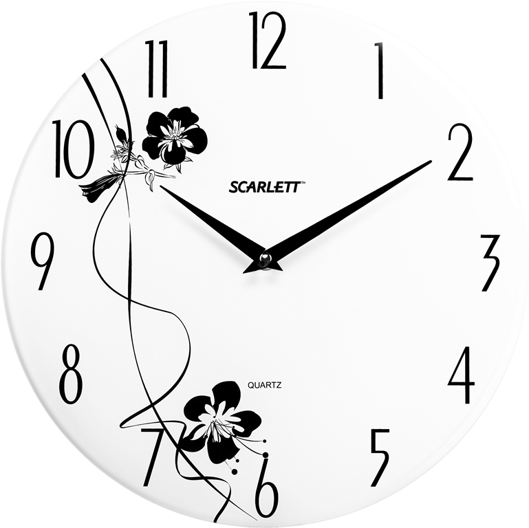 Часы настенные Scarlett, диаметр 33 см. SC - 25FSC - 25FНастенные кварцевые часы Scarlett, изготовленные изпластика, прекрасно впишутся в интерьервашего дома. Круглые часы имеют две стрелки: часовую иминутную, циферблат защищен прозрачнымпластиком.Часы работают от 1 батарейки типа АА напряжением 1,5 В(батарейка в комплект не входит). Диаметр часов: 33 см.