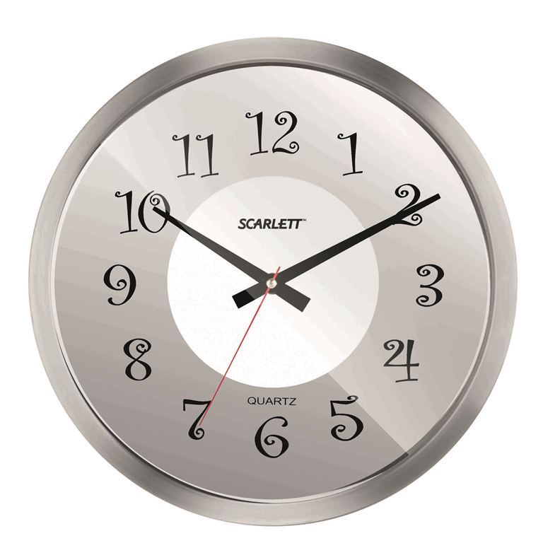 Часы настенные Scarlett, диаметр 30,5 см. SC - WC1004ISC - WC1004IНастенные кварцевые часы Scarlett, изготовленные изпластика, прекрасно впишутся в интерьервашего дома. Круглые часы имеют три стрелки: часовую,минутную и секундную, циферблат защищен прозрачнымпластиком.Часы работают от 1 батарейки типа АА напряжением 1,5 В(батарейка в комплект не входит). Диаметр часов: 30,5 см.