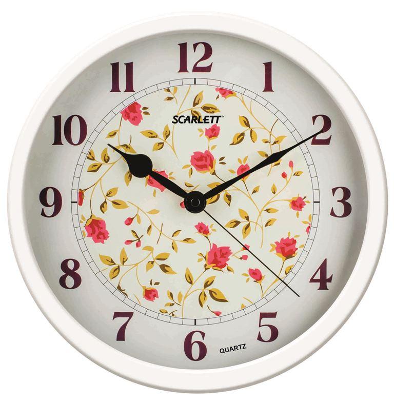 Часы настенные Scarlett, диаметр 31,5 см. SC - WC1002ISC - WC1002IНастенные кварцевые часы Scarlett, изготовленные изпластика, прекрасно впишутся в интерьервашего дома. Круглые часы имеют три стрелки: часовую,минутную и секундную, циферблат защищен прозрачнымпластиком.Часы работают от 1 батарейки типа АА напряжением 1,5 В(батарейка в комплект не входит). Диаметр часов: 31,5 см.