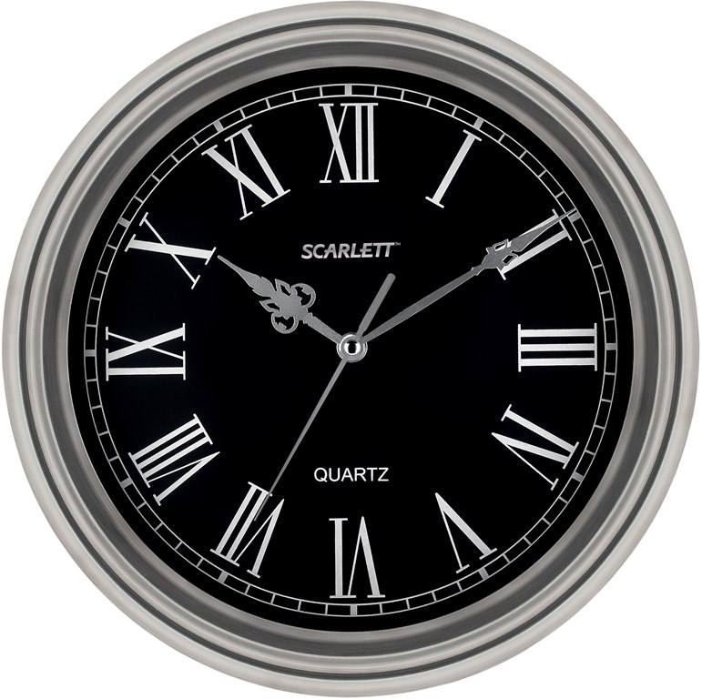 Часы настенные Scarlett, диаметр 33 см. SC - 27DSC - 27DНастенные кварцевые часы Scarlett, изготовленные изпластика, прекрасно впишутся в интерьервашего дома. Круглые часы имеют три стрелки: часовую,минутную и секундную, циферблат защищен прозрачнымпластиком.Часы работают от 1 батарейки типа АА напряжением 1,5 В(батарейка в комплект не входит). Диаметр часов: 33 см.