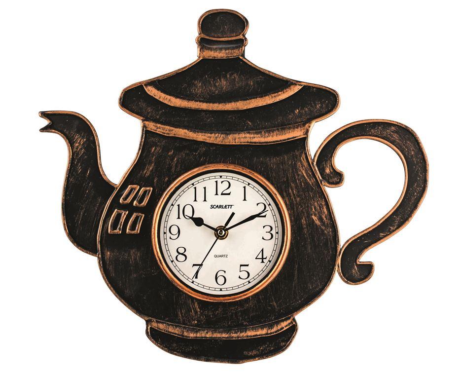Часы настенные Scarlett. SC - WC1004KSC - WC1004KНастенные кварцевые часы Scarlett в классическом дизайне, изготовленные из пластика, прекрасно впишутся в интерьер вашей кухни. Часы выполнены в виде заварочного чайника. Изделие имеет три стрелки: часовую, минутную и секундную, циферблат защищен прозрачным пластиком. Часы работают от 1 батарейки типа АА напряжением 1,5 В (батарейка в комплект не входит).