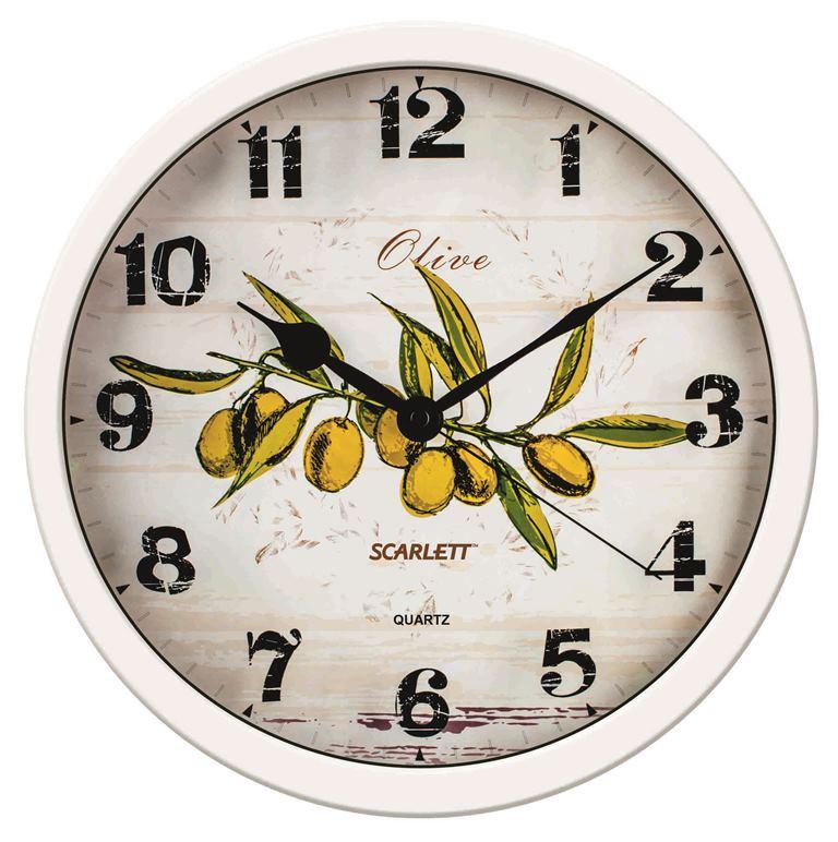 Часы настенные Scarlett, диаметр 31 см. SC - WC1005KSC - WC1005KНастенные кварцевые часы Scarlett в классическом дизайне, изготовленные из пластика, прекрасно впишутся в интерьер вашей кухни. Круглые часы имеют три стрелки: часовую, минутную и секундную, циферблат защищен прозрачным пластиком. Часы работают от 1 батарейки типа АА напряжением 1,5 В (батарейка в комплект не входит). Диаметр часов: 31 см.