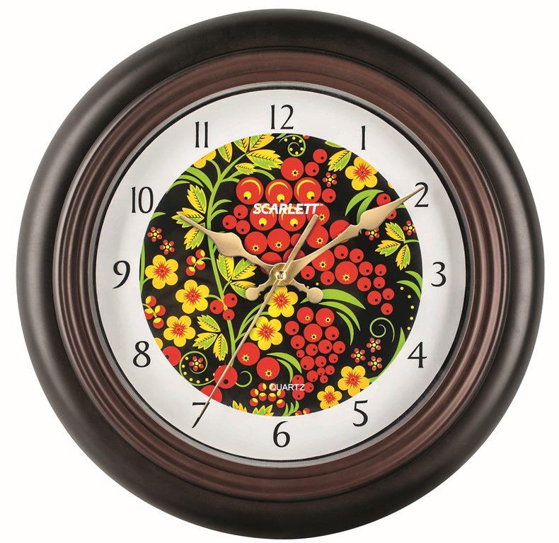 Часы настенные Scarlett, диаметр 30,5 см. SC - 25MSC - 25MНастенные кварцевые часы Scarlett в классическом дизайне, изготовленные из пластика, прекрасно впишутся в интерьер вашего дома. Круглые часы имеют три стрелки: часовую, минутную и секундную, циферблат защищен прозрачным пластиком. Часы работают от 1 батарейки типа АА напряжением 1,5 В (батарейка в комплект не входит). Диаметр часов: 30,5 см.