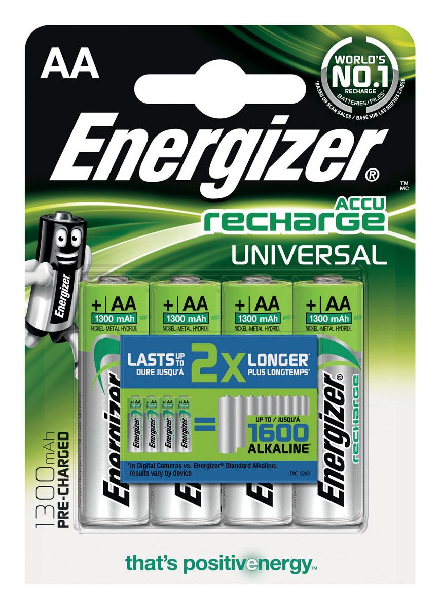 Аккумулятор Energizer  Recharge Universal , тип AA, 1300 mAh, 4 шт - Батарейки и аккумуляторы