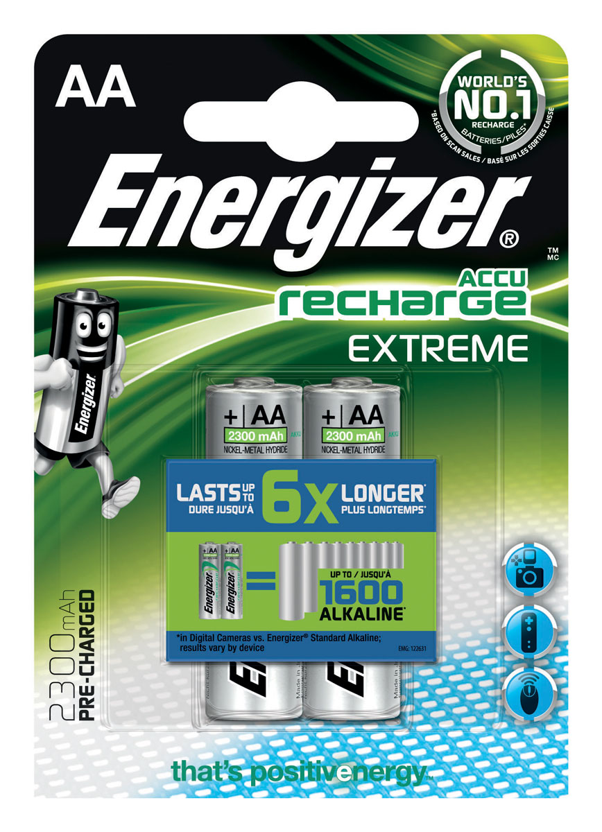 Батарейка Energizer Extreme, тип AA, 1,2 V, 2 штE300323700/638588/634998Батарейка Energizer Extreme - безотказный источник энергии. Чаще всего применяется в цифровых фотокамерах. Отличается длительным сроком службы - до 350 цифровых фотографий с одной зарядки. Выдерживает 600 циклов заряда, основано на стандартах МЭК. Работает при температуре от 0 °С до +50 °С.