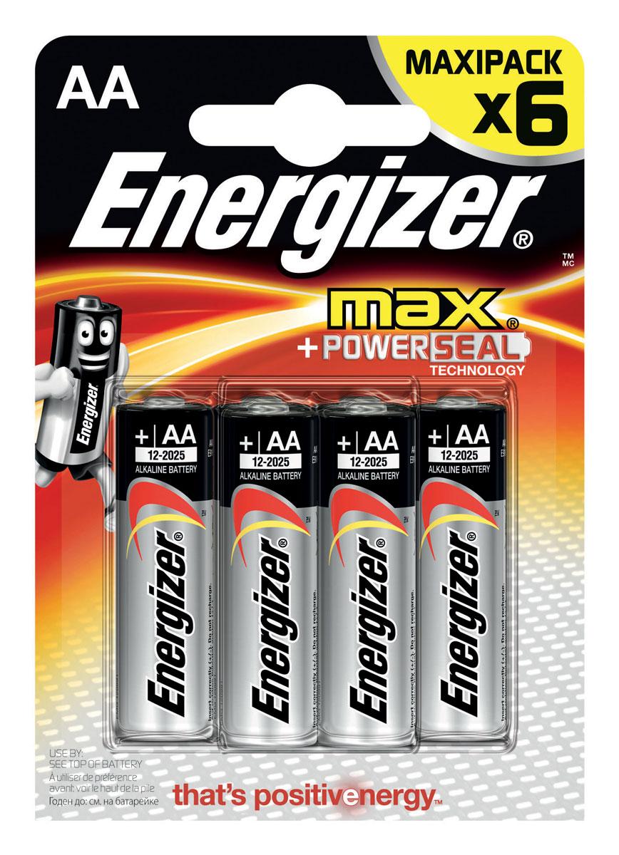 Батарейка Energizer Max, тип АА/LR6, 1,5 V, 6 штE300132200Батарейка Energizer Max - безотказный источник энергии для устройств повседневного пользования. Чаще всего применяется в пультах управления, небольших фонарях, часах, радио. Это первая в мире щелочная батарейка без ртути. Работает до 45% дольше, держит заряд до 10 лет. Стандартные щелочные батарейки Energizer защищены от протеканий.Уважаемые клиенты! Обращаем ваше внимание на то, что упаковка может иметь несколько видов дизайна. Поставка осуществляется в зависимости от наличия на складе.