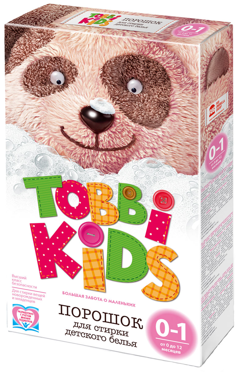 Tobbi Kids Стиральный порошок для детского белья от 0 до 12 месяцев 400 г891721Стиральный порошок для детского белья Tobbi Kids изготовлен из натурального мыла, отлично справляющегося со следами от пюре и соков.Дети в возрасте от 0 до 12 месяцев имеют pH кожи, отличный от pH кожи детей старше года и взрослых, и их иммунная система особенно уязвима, именно поэтому малыши весьма чувствительны к аллергенам и активным веществам в составе стирального порошка. В этот период важно выбирать самые безопасные средства, ведь малышам не подходят взрослые порошки. Формула Tobbi Kids разработана с учетом рекомендаций педиатров, ее pH соответствует pH кожи ребенку до года, а безопасные активные компоненты отлично отстирывают все загрязнения и ухаживают за вещами малыша.Предназначен для стирки детского белья из хлопчатобумажных, льняных и смешанных тканей в стиральных машинах любого типа. Допускается применение для ручной стирки.Состав: мыло хозяйственное, неионогенное поверхностно-активное вещество, натрия перкарбонат, натрий триполифосфат, сода кальцинированная, натрий карбоксиметилцеллюлоза, усилитель отбеливателя, акремон B1, натрий сернокислый.