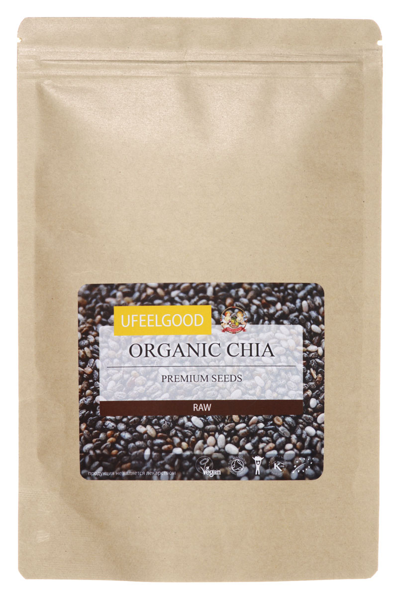 UFEELGOOD Organic Chia Premium Seeds органические семена чиа, 200 г36Прежде, чем описать полезные свойства семян чиа от UFEELGOOD, давайте подробнее рассмотрим их структуру. Семена поглощают воду в 8 раз превышающий их собственных вес, так как они окружены специальным волокном, который втягивает в себя воду. В отличие от традиционных зерновых, таких как овес, рисовые культуры и кукуруза, в семенах чиа всего 8% углеводов. Однако в них 20% белка. Когда вы едите семена чиа, они насыщают ваш желудок и задерживают высвобождение гормона грелина. Поэтому семена чиа отлично подходят для диет, так как после небольшого их употребления вы быстро насыщаетесь на весь деньСемена чиа содержат большое количества Омега - 3 и полиненасыщенных жирных кислот. Чиа являются самым богатым носителем альфа-линоленовой кислоты, которая нужна для роста и развития клеток здорового мозга. Добавляя семена чиа в хлеб, вы сможете получить вместо скромной буханки хлеба, богатый омега - 3 кислотами продукт, который даст заряд энергии на весь день.Омега - 3 также необходимы для строительства клеточных мембран и сигнальных молекул, а регулярное включение чиа в рацион понижает риск развития инфаркта и инсульта, а также снижает заболеваемость болезнью Альцгеймера.Чиа также содержит полезные белки, витамины, минералы и антиоксиданты. В чиа есть витамины А, В1, 2, 3, 6 и 8, а также Е. Кроме того, в них содержится кальций, калий, железо, магний, фосфор и цинк. Минеральный состав чиа также не следует игнорировать. Он содержит магний, кальций и фосфор, а также существенные элементы цинка, железа, меди и калия. Чиа является древней и натуральной пищей, полезным дополнением к диете, ограниченной суровостью современной жизни.9 % объема чиа является высококачественным белком. Чиа — универсальная пища, нейтральная по аромату. Она может быть добавлена в различные приготовленные или сырые блюда и помогает дольше оставаться сытыми, так как впитывает в себя значительное количество воды. Гель, сформировавшийся в желуд