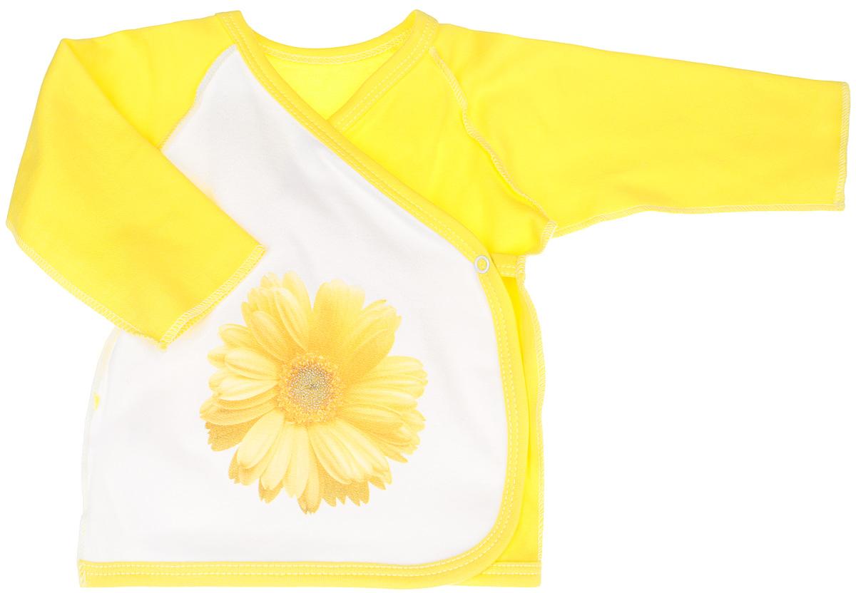 Распашонка-кимоно для девочки КотМарКот, цвет: желтый, белый. 4162. Размер 68, 3-6 месяцев