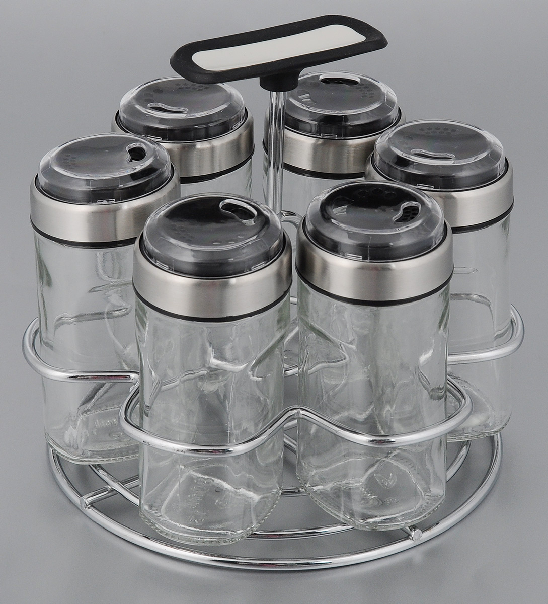 Набор емкостей для специй Nadoba Petra, 7 предметов741016Набор Nadoba Petra состоит из 6 емкостей для специй и подставки. Емкости выполнены из прозрачного ударопрочного стекла и снабжены стальными крышками с тремя режимами дозирования. Для хранения емкостей предусмотрена металлическая подставка с прорезиненной ручкой. Такой набор поможет хранить под рукой самые часто используемые специи.Изделия можно мыть в посудомоечной машине.Объем емкости: 80 мл.Размер емкости: 5 х 5 х 10,5 см.Размер подставки: 13,5 х 13,5 х 14,5 см.
