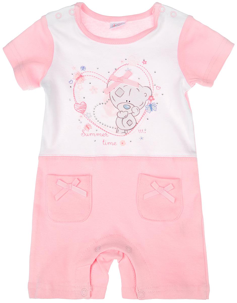 Песочник для девочки PlayToday My To You, цвет: белый, светло-розовый. 668805. Размер 62, 3 месяца