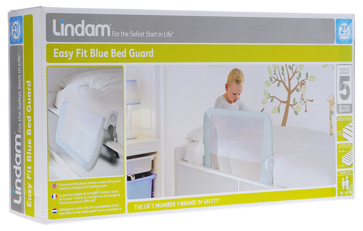 Lindam Бортик защитный для кровати на металлическом каркасе цвет голубой