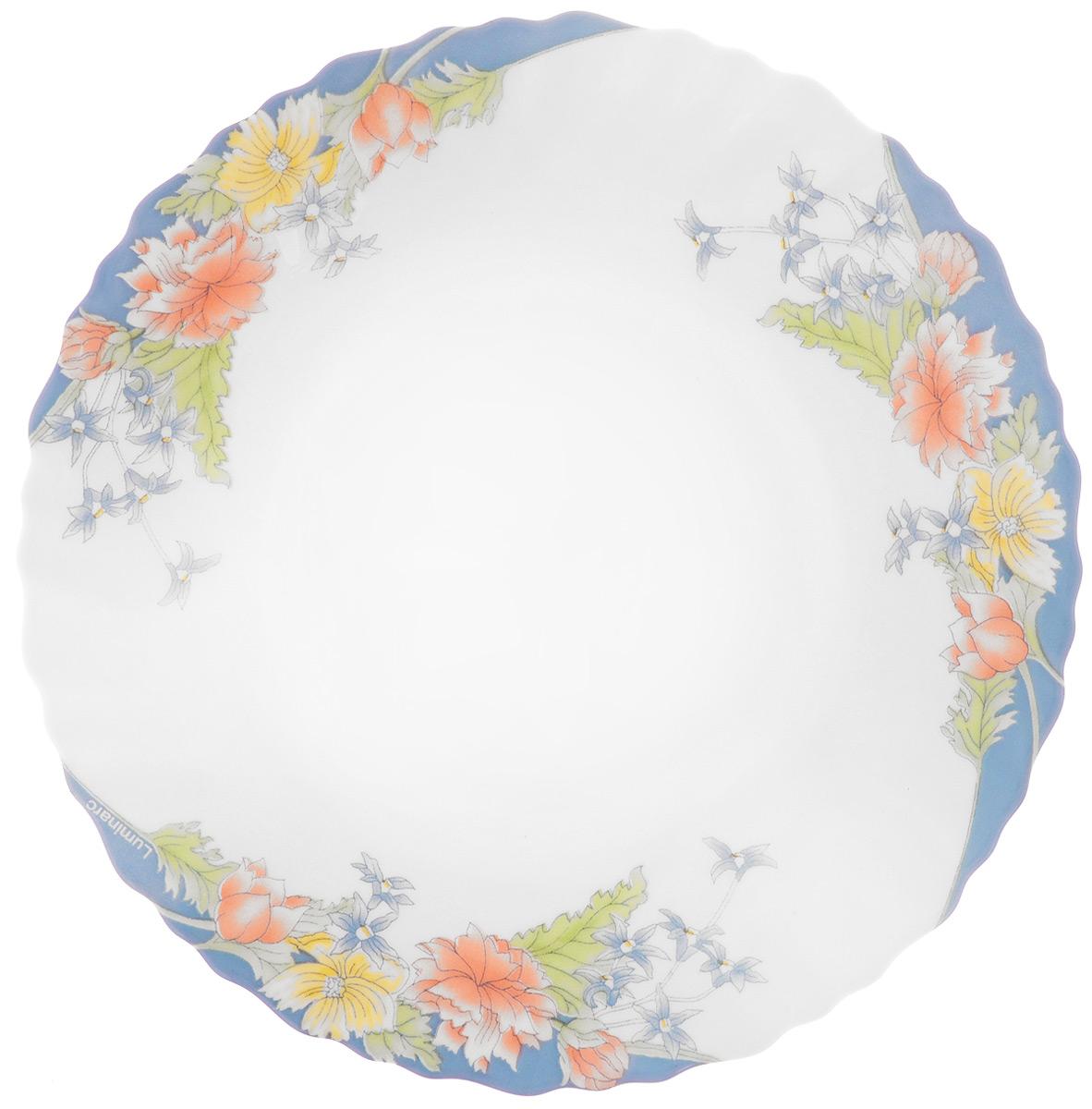 Тарелка десертная Luminarc Florine, диаметр 19 смH4270Десертная тарелка Luminarc Florine, изготовленная из ударопрочного стекла, декорирована красочным цветочным изображением. Такая тарелка прекрасно подходит как для торжественных случаев, так и для повседневного использования. Идеальна для подачи десертов, пирожных, тортов и многого другого. Она прекрасно оформит стол и станет отличным дополнением к вашей коллекции кухонной посуды. Можно использовать в СВЧ и мыть в посудомоечной машине. Диаметр тарелки (по верхнему краю): 19 см. Высота тарелки: 1,5 см.
