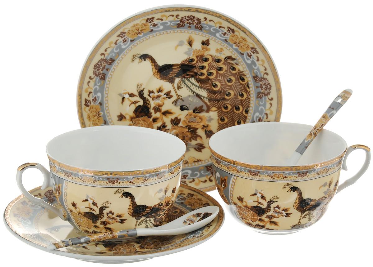 Набор чайных пар Elan Gallery Павлин, с ложками, 6 предметов180797Набор чайных пар Elan Gallery Павлин состоит из 2 чашек, 2 блюдец и 2 ложек. Предметы набора выполнены из высококачественной керамики и оформлены изящным изображением цветочных узоров и павлинов. Яркий дизайн, несомненно, придется вам по вкусу.Набор чайных пар Elan Gallery Павлин украсит ваш кухонный стол, а также станет замечательным подарком к любому празднику. Объем чашки: 250 мл.Диаметр чашки (по верхнему краю): 9,5 см.Диаметр дна чашки: 4 см.Высота чашки: 6 см.Диаметр блюдца: 15 см.Высота блюдца: 2 см.Длина ложки: 12,7 см.