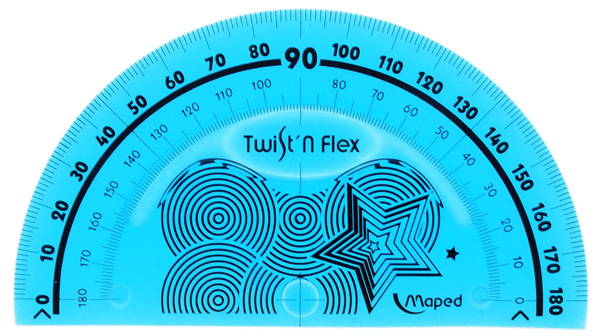 Транспортир Maped Twist-n-flex неломающийся 10 см цвет морская волна2798107_морская волнаГибкий неломающийся транспортир Maped -это не только необходимый в учебе предмет, но и легкий способ привлечь ребенка к процессу обучения.Выполнен из прозрачного цветного пластика с ровной четкой миллиметровой шкалой делений.