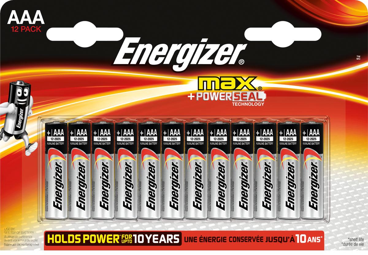 Батарейка Energizer Max, тип AAA/LR03, 1,5 V, 12 штE300103700Батарейка Energizer Max - безотказный источник энергии для устройств повседневного пользования. Чаще всего применяется в пультах управления, небольших фонарях, часах, радио. Это первая в мире щелочная батарейка без ртути. Работает до 45% дольше, держит заряд до 10 лет. Стандартные щелочные батарейки Energizer защищены от протеканий.