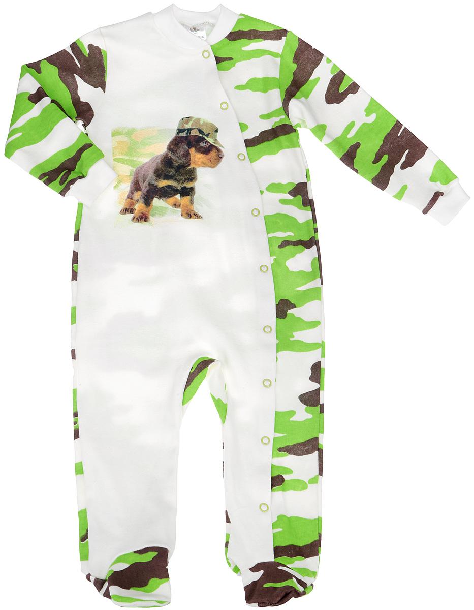 Комбинезон для мальчика КотМарКот, цвет: молочный, салатовый, коричневый. 6264. Размер 80, 9-12 месяцев6264Комбинезон для мальчика КотМарКот - удобный и практичный вид одежды для малыша, который идеально подходит для сна и отдыха. Комбинезон выполнен из натурального хлопка, благодаря чему он очень мягкий и приятный на ощупь, не раздражает нежную кожу ребенка и хорошо вентилируется. Комбинезон с длинными рукавами и закрытыми ножками имеет застежки-кнопки от горловины до щиколотки, проходя по одной ножке, которые помогают легко переодеть младенца или сменить подгузник. Вырез горловины дополнен мягкой трикотажной резинкой. Изделие оформлено принтом с изображением очаровательного щенка в кепке, а основная часть комбинезона оформлена узором милитари.Комфортный и уютный комбинезон станет незаменимым дополнением к гардеробу вашего ребенка. Изделие полностью соответствует особенностям жизни младенца в ранний период, не стесняя и не ограничивая его в движениях.