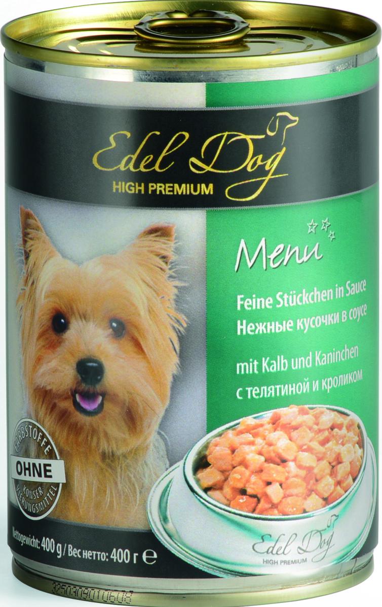 Консервы для собак Edel Dog, с телятиной и кроликом, 400 г1000331Консервы для собак Edel Dog - полнорационный консервированный корм для собак всех пород. На основе мяса теленка и кролика с добавлением витаминов и минералов. Cостав: мясо и мясопродукты (5% телятины, 5% кролика), злаки, минеральные вещества, инулин (0,1%).Аналитический состав: влажность 82%, сырой протеин 8,5%, сырой жир 4,5%, сырая зола 2,0%, сырая клетчатка 0,5%.Пищевые добавки / кг: витамин Д3 250 МЕ, цинк (сульфат цинка, моногидрат) 18 мг, витамин Е (альфа-токоферолацетат) 15 мг, медь (сульфат меди II, пентагидрат) 1 мг, марганец (сульфат марганца II, моногидрат) 1 мг. Товар сертифицирован.