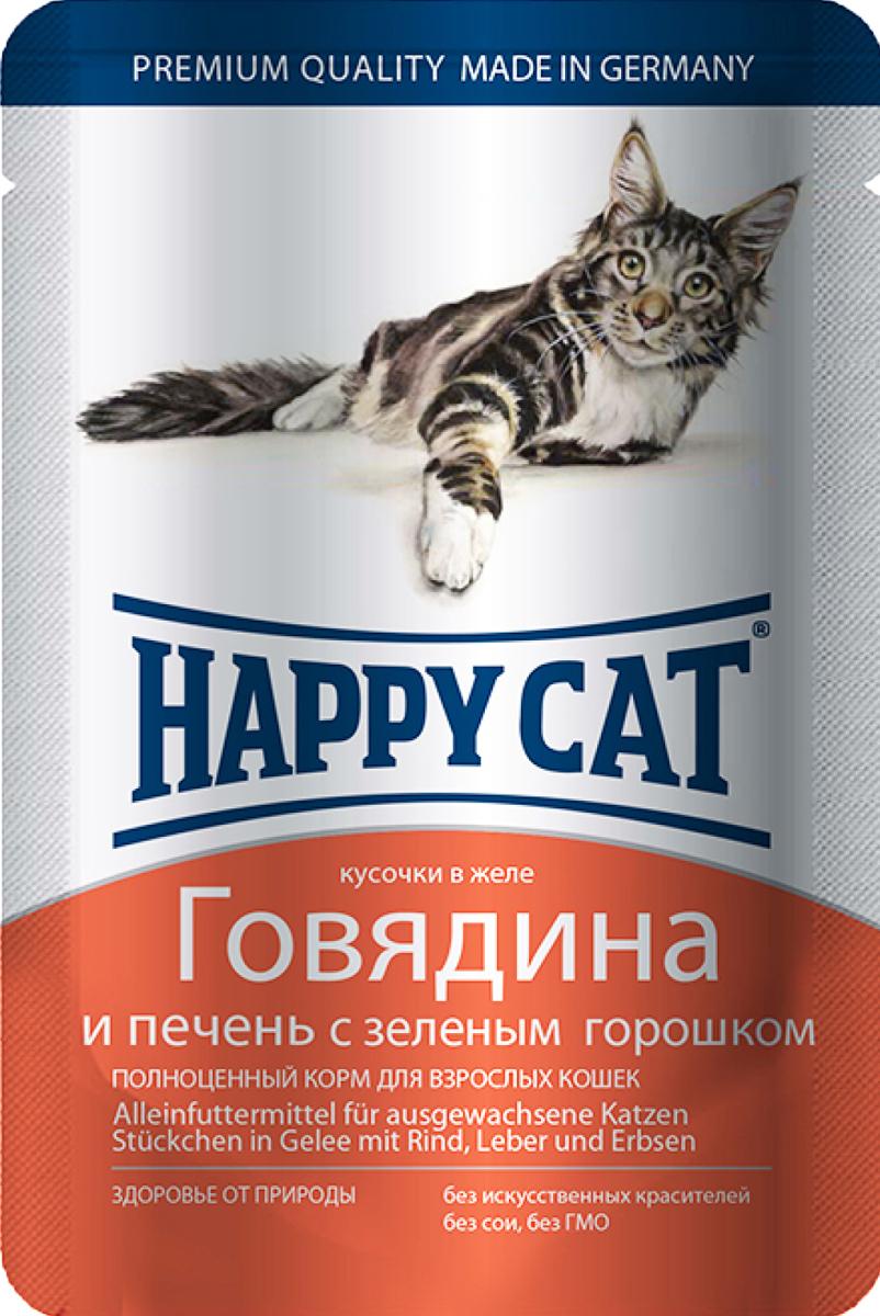 Консервы для кошек Happy Cat, говядина и печень с зеленым горошком, 100 г1002311Консервы для кошек Happy Cat - полноценный корм, который обеспечивает правильное и разнообразное питание кошки. Это очень вкусный и натуральный корм предлагает качественно отобранные ингредиенты, чтобы порадовать даже самую привередливую кошку. Уникальная технология приготовления позволяет сохранить все ценные свойства натуральных продуктов, чтобы ваш питомец был здоров и полон сил.Состав: мясо и мясопродукты (говядина - 4,0%, печень - 4,0%), овощи (горошек - 4,0%), минеральные вещества, инулин (0,1%).Аналитический состав: сырой протеин 8,0 %, сырой жир 5,0 %, сырая зола 2,0 %, сырая клетчатка 0,3 %, влажность 83,0%.Витамины/кг: витамин D3 250МЕ, витамин Е 15 мг, биотин 20 гр. Микроэлементы/кг: медь 1 мг, марганец 1 мг, цинк 18 мг. Антиоксиданты/кг: таурин 445мг.Товар сертифицирован.
