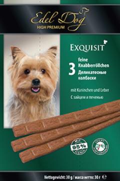 Колбаски жевательные Edel Dog для собак, с кроликом и печенью, 3 шт17501Колбаски жевательные Edel Dog - вкусное лакомство для поощрения на прогулке и дома. Изготовлено из свежего сырья с добавлением витаминов и минералов.Минеральные вещества: влажность 27,0%, сырой протеин 35,0%, сырой жир 21,0%, сырая зола 9,0%, сырая клетчатка 0,5%. Добавки: антиоксидантами и консервантами ЕГ.Состав: мясо и мясопродукты (из них как минимум 6% кролика и минимум 6% печени), минеральные вещества, сахар.