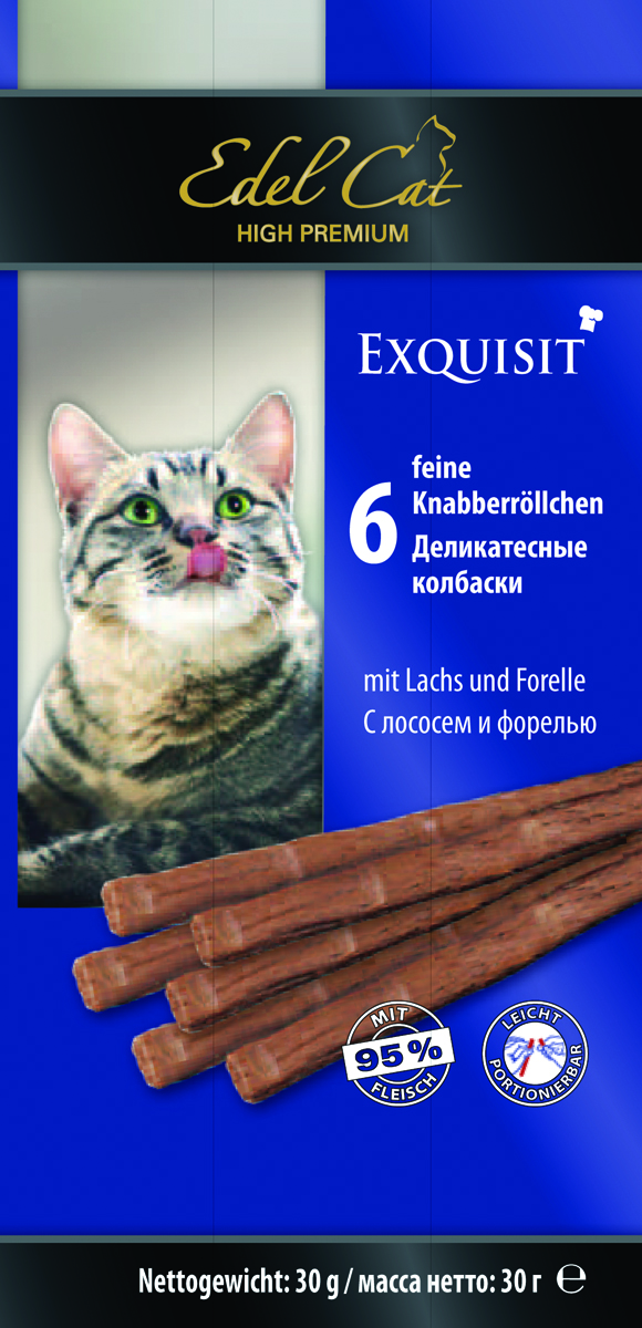 Колбаски жевательные Edel Cat, с лососем и форелью, 6 шт17603Лакомства Edel Cat - вкусные жевательные колбаски для кошек. На 95% состоят из свежего мяса с добавлением витаминно-минерального комплекса.Минеральные вещества: сырой протеин 33,5%, влажность 28%, сырой жир 20%, сырая зола 10%, сырая клетчатка 2%.Состав: мясо и мясопродукты (95% в т.ч. 6% лосось, 6% форель), минеральные вещества.
