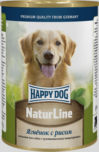 "Консервы для собак Happy Dog ""Natur Line"", ягненок с рисом, 400 г"
