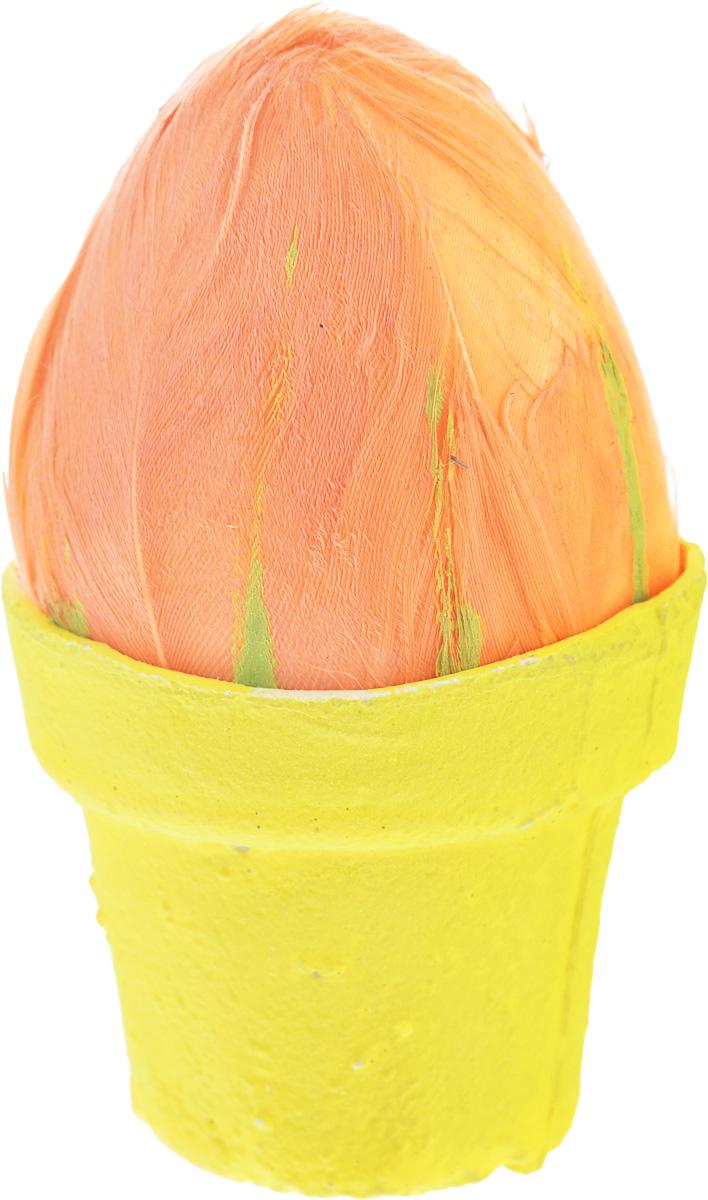 Декоративное украшение Home Queen Яйцо на подставке, цвет: оранжевый, желтый подставка под яйца home queen цвет желтый оранжевый 2 ячейки