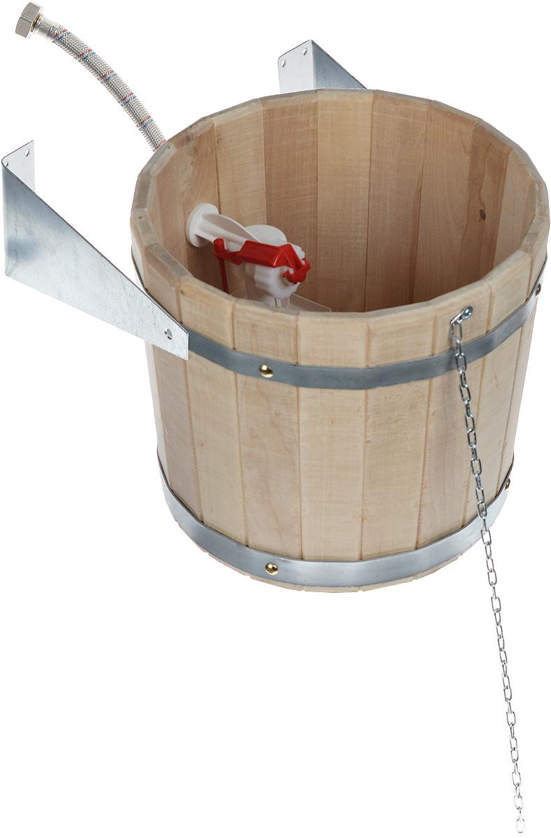 Устройство обливное Proffi Sauna, 10 лPS0085Обливное устройство Proffi Sauna состоит из деревянной емкости, двух кронштейнов и впускного клапана для воды. Обливное устройство изготовлено из деревянных шпунтованный клепок, склеенных между собой водостойким клеем и стянутых двумя обручами из металла. Внутри и снаружи устройство покрыто экологически безопасной мастикой на основе природного воска, который обеспечивает высокую степень защиты древесины от воздействия воды. Обливное устройство может монтироваться как к стенам, так и к потолку помещения. Обливное устройство предназначено для контрастного обливания после высоких температур парной в банях и саунах. Обливные устройства используются как внутри бани, так и снаружи. Рекомендуется периодически проверять прочность узловых соединений и надежность крепления к стене.Эксплуатация бондарных изделий.Перед первым использованием бондарное изделие рекомендуется подготовить. Для этого нужно наполнить изделие холодной водой и оставить наполненным на 2-3 часа. Затем необходимо воду слить, обдать изделие сначала горячей, потом холодной водой. Не рекомендуется оставлять бондарные изделия около нагревательных приборов, а также под длительным воздействием прямых солнечных лучей.С момента начала использования бондарного изделия не рекомендуется оставлять его без воды на срок более 1 недели. Но и продолжительное время хранить в таких изделиях воду тоже не следует.После каждого использования необходимо вымыть и ошпарить изделие кипятком. В качестве моющих средств желательно использовать пищевую соду либо раствор горчичного порошка. Правильное обращение с бондарными изделиями позволит надолго сохранить их эксплуатационные свойства и продлить срок использования!Диаметр обливного устройства (по верхнему краю): 29 см. Высота стенок: 26,5 см.