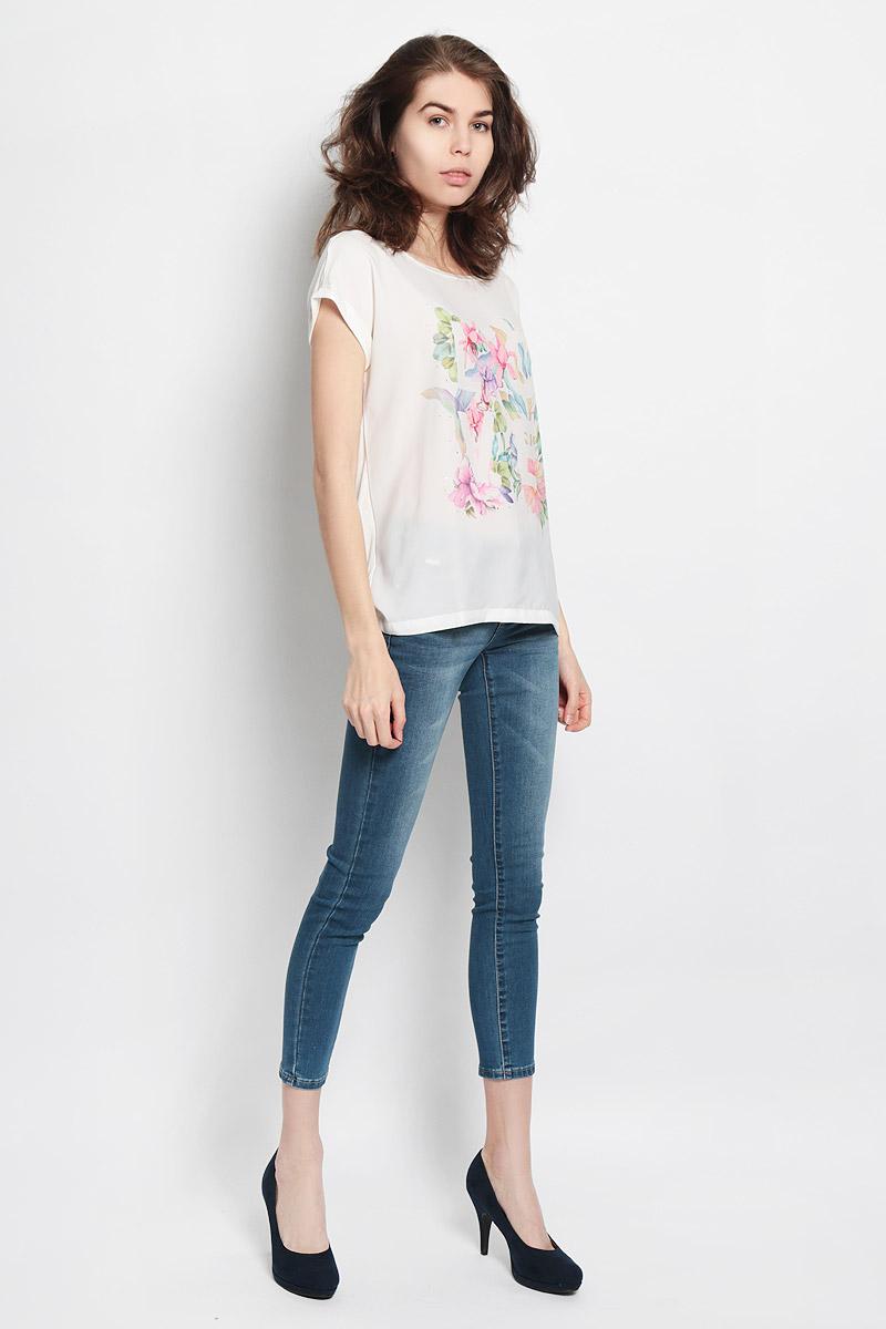 Блузка Sela, цвет: белый, розовый, голубой. Tws-112/728-6123. Размер S (44) цена 2017