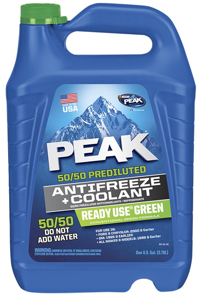 Антифриз PEAK READY USE 50/50, готовый, цвет: зеленый G11; 3,78 л7010031Высококачественный зеленый антифриз PEAK READY USE на этиленгликолевой основе для использования в легковых автомобилях и грузовиках. Не оказывает вредных воздействий на детали двигателя, выполненные из резины и пластика. PEAK содержит ингибиторы, которые обеспечивают максимальную защиту от замерзания до -37°С и закипания до +109°С (при атмосферном давлении). Запатентованная формула антифриза обеспечивает круглогодичную защиту всех металлов системы охлаждения, включая алюминий, и предотвращает образование ржавчины и коррозии. Соответствует требованиям следующих спецификаций: ASTM D-3306; ASTM D-4340; ASTM D -4985; ASTM D-4656 (50% Blend); ASTM D-5345 (50% Blend); Caterpillar; Chrysler MS7170; Cummins 90T8-4; Ford ESE-M97B44-A; VAG TL 774-C (G11); CM 1825M; GM 1899M; John Deere H24B1/C1; Mack Truck; SAE J1034; SAE J1941; TMC RP 302B; ЯМЗ (РД 37.319.037-06)Совместим со всеми зелеными антифризами. Срок использования 2 года или 120 000 км. пробега.