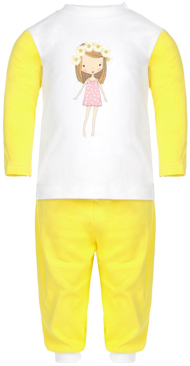 Пижама для девочки КотМарКот, цвет: лимонный, белый. 16162. Размер 98, 3 года16162Удобная пижама для девочки КотМарКот, состоящая из футболки с длинным рукавом и брюк, идеально подойдет вашему ребенку. Пижама выполнена из натурального хлопка, она необычайно мягкая и приятная на ощупь, не сковывает движения и позволяет коже дышать, не раздражает даже самую нежную и чувствительную кожу ребенка, обеспечивая ему наибольший комфорт. Футболка с длинными рукавами и круглым вырезом горловины оформлена изображением очаровательной девочки с цветочным венком на голове и украшена блеском. Футболка на плече застегивается на металлические кнопки, что позволяет с легкостью переодеть ребёнка. Вырез горловины дополнен эластичной резинкой. Брюки прямого кроя на поясе имеют широкую эластичную резинку, благодаря чему они не сдавливают животик ребенка и не сползают. Низ брючин дополнен широкими эластичными манжетами.Пижама станет отличным дополнением к гардеробу маленькой принцессы, в ней ваш ребенок будет чувствовать себя комфортно и уютно во время сна.