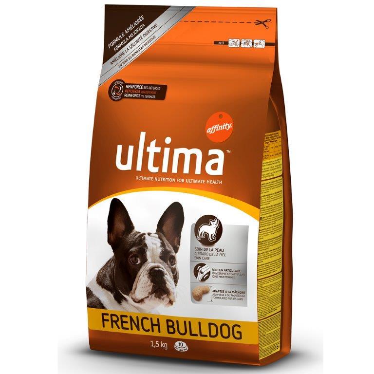 Корм Affinity Ultima для взрослых французских бульдогов, с курицей, рисом и злаками, 1,5 кг1850017Корм Affinity Ultima для взрослых французских бульдогов - это сбалансированный продукт, который производится из натурального мяса курицы, гипоаллергенного обработанного риса, овощей и минеральных добавок. Не содержит химических веществ, красителей и ароматизаторов. Этот корм обеспечивает питомца всеми веществами, нужными для нормальной жизнедеятельности. Оптимальная порция белка и аминокислот поможет укрепить мышечную массу и наполнить организм энергией для активного времяпровождения. Жирные кислоты Омега-3 и Омега-6, цинк, медь, коллаген и витамины позаботятся о хорошем состоянии шерсти и кожи питомца. Куриное мясо, рис и клетчатка с пребиотическим эффектом заботятся о нормальной работе ЖКТ, отменно чистят кишечник, нормализуют функцию желудка и усвояемость пищи. Кальций, фосфор и витамин D3 станут основой сильных костей и зубов, глюкозамин и хондроитин поспособствуют нормализации состояния хрящей и суставов. Антиокислительное действие витамина Е и таурина поможет наладить работу сердца, исключить вероятность аритмии и других заболеваний, встречающихся у собак мелких пород. Рацион имеет специальную форму и размер гранул: небольшие хрустящие крокеты легко раскусываются и обеспечивают питомцу только положительные эмоции от обеда. Ингредиенты: курица (17%), кукуруза, белок мяса птицы дегидратированный, мука кукурузная глютеновая, пшеница, рис (8%), жиры животные, мука кукурузная, белок животный гидролизованный, коллаген гидролизованный, жом свекловичный, рыбий жир, хлорид калия, соль, глюкозамин, хондроитина сульфат.Питательные вещества: белок 27%, жир 17,5%, клетчатка 2%, неорганические вещества 6,2%, кальций 1,2%, фосфор 0,8%, влажность 9%, таурин 1200 мг. Витамины: витамин А 32000 МЕ, витамин D3 2100 МЕ, витамин E 410 мг, витамин C 350 мг, витамин B6 11,3 мг. Товар сертифицирован.