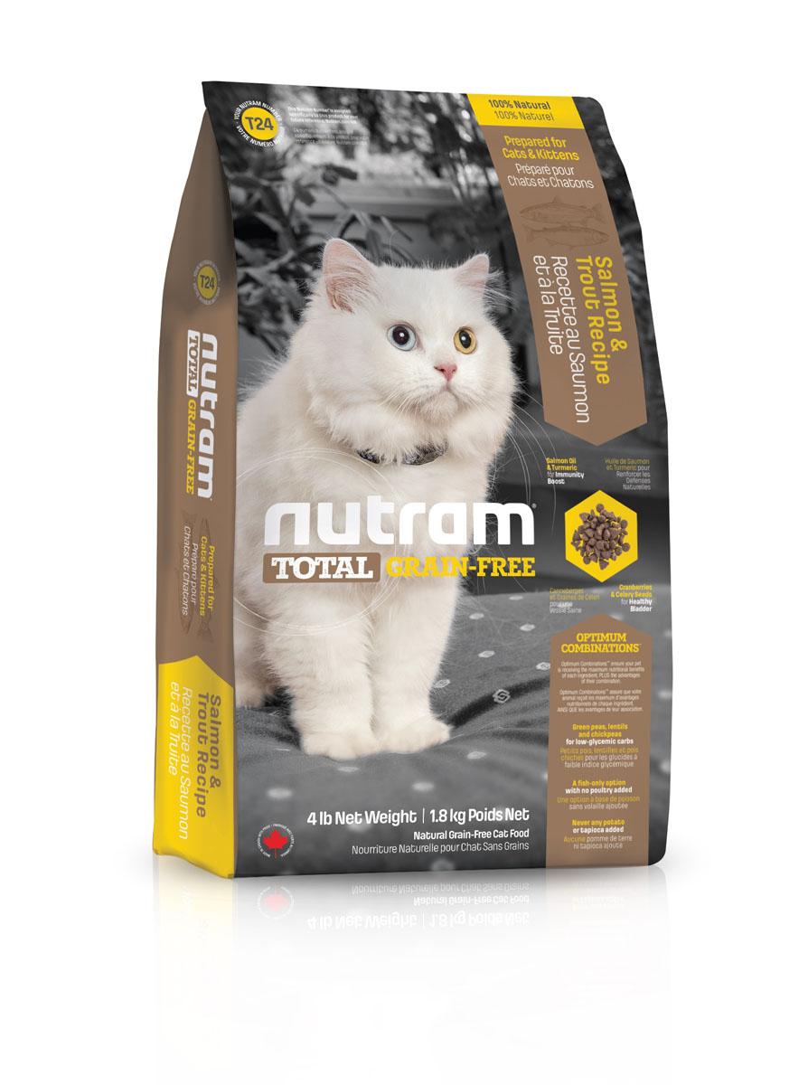 Беззерновой сухой корм для кошек из мяса лосося и форели T24 Nutram GF Salmon & Trout Cat Food 6.8 кг82757Беззерновой сухой корм Nutram Total Grain-Free -натуральное и полноценное питание с низкимгликемическим индексом углеводов. Корм обеспечиваетваших домашних питомцев только полезнымиингредиентами, обработанными специальным способомдля сохранения максимальной пользы. Рецептура кормаNutram Total Grain-Free соответствует возрастнымнормам питания для кошек, установленнымассоциацией AAFCO. Он содержит в себе мясо лосося ифорели высокого качества, витамины, аминокислоты иминеральные вещества.Состав: мясо форели без костей, дегидрированное мясолосося, дегидрированное мясо рыбы менхаден, зеленыйгорошек, чечевица, бараний горох, каноловое масло,мясо лосося без костей, жир лососевых рыб,натуральный овощной ароматизатор, морковь, яблоки,тыква мускатная, киноа, хлорид холина, клюква,черника, ежевика, листовая капуста, корень цикория(пребиотик), витамины и минералы (витамин E, витаминС, витамин В3, витамин А, витамин В1, витамин B5,витамин B6, витамин B2, бета-каротин, витамин D3,витамин B9, витамин B7, витамин B12, протеинатцинка, сульфат железа, оксид цинка, протеинат железа,сульфат меди, протеинат меди, протеинат марганца,оксид марганца, иодат кальция, селенит натрия),таурин, юкка Шидигера, шпинат, семена сельдерея,мята перечная, ромашка, куркума, имбирь, розмаринсушеный.Пищевая ценность: белки (мин.) 36,0%, жиры (мин.)17,0%, клетчатка (макс.) 5,5%, вода (макс.) 10,0%, зола(макс.) 6,5%, кальций (мин.) 0,90%, фосфор (мин.)0,70%, омега-3 (мин.) 1,30%, омега-6 (мин.) 2,80%.Калорийность на кг: 3 920 ккал/кг. Товар сертифицирован.