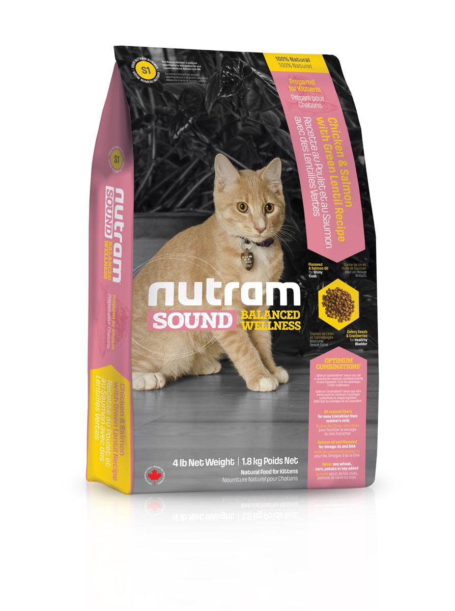 Корм сухой S1 Nutram Sound Balanced Wellness для котят, 1,8 кг83085Целостный. полезный, богатый питательными веществами корм сухой S1 Nutram Sound Balanced Wellness улучшает самочувствие и здоровье питомцев по принципу изнутри наружу. Рецептура разработана на основе Оптимальных Сочетаний TM жира лососевых рыб и семян льна, источников Омега-3 жирных кислот, необходимых для поддержки нормального развития. Клюква, естественный подкислитель, и семена сельдерея, эффективное мочегонное, регулируют баланс жидкости в организме. Благодаря им поддерживаются уровень рН и уровень золы в моче, что способствует здоровью мочеполовой системы. Состав: дегидрированное мясо курицы, мясо курицы без костей, дегидрированное мясо лосося, овсяная мука, коричневый рис, перловая крупа, куриный жир, чечевица, зеленый горошек, люцерна, натуральный ароматизатор курицы, жир лососевых рыб, яблоко, морковь, хлорид холина, тыква, хлористый калий, льняное семя, гранат, клюква, корень цикория (пребиотик), витамины и минералы (витамин E, витамин C, витамин B3, витамин A, витамин B1, витамин B5, витамин B6, витамин B2, бета-каротин, витамин D3, витамин B9, витамин B7, витамин B12, протеинат цинка, сульфат железа, оксид цинка, протеинат железа, сульфат меди, протеинат меди, протеинат марганца, оксид марганца, иодат кальция, селенит натрия), ламинария, таурин, клетчатка подорожника, юкка Шидигера, L-карнитин, шпинат, семена сельдерея, мята перечная, ромашка, куркума, имбирь, розмарин сушеный. Гарантированный анализ: протеин (мин.) 32,0%, жир (мин.) 17,0%, клетчатка (макс.) 3,0%, вода (макс.) 10,0%, зола (макс.) 7,5%. Минеральные вещества: кальций 1,0%, фосфор 0,85%.Товар сертифицирован.