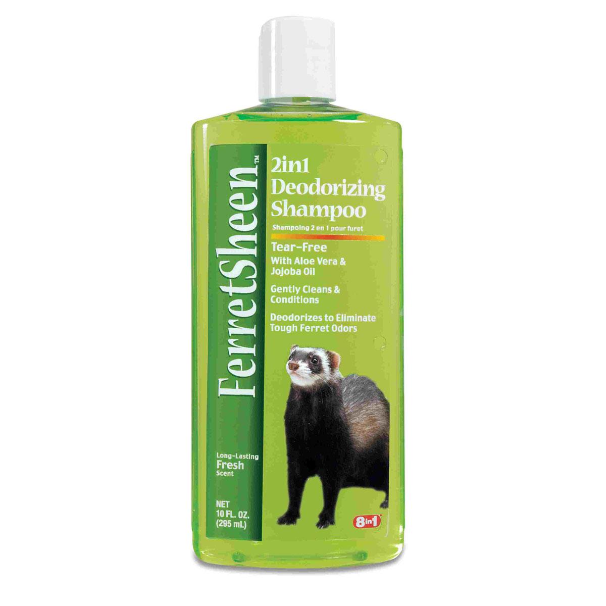 Шампунь для хорьков 8 in1 Shampoo Ferretsheen Deodorizing, дезодорирующий, 295 мл1835288Шампунь для хорьков дезодорирующий содержит мощные микро-капсулированные ферменты, которые эффективно борются с резким неприятным запахом.Масло жожоба и алоэ вера смягчают кожу и ухаживают за шерстью, позволяя ей выглядеть наилучшим образом. Шампунь не раздражает кожу.После купания шерсть хорька надолго сохраняет приятный аромат огурца и дыни. Полностью намочите шерсть хорька, нанесите шампунь и вспеньте. Для достижения наилучшего результата оставьте шампунь на шерсти в течение нескольких минут, втирая его массажными движениями. Хорошо смойте водой, насухо вытрите и расчешите шерсть зверька.
