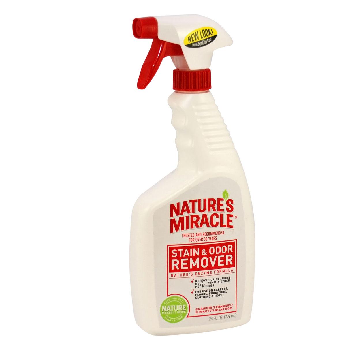 Уничтожитель пятен и запахов универсальный 8 in1 NM S&O Remover, спрей, 710 мл5051042Универсальный уничтожитель пятен и запахов 8 in1 NM S&O Remover - идеальное решение для любых загрязнений, оставленных животными. Пятна и запахи от травы, грязи, рвоты, мочи, фекалий и крови - не проблема для био-энзимной формулы Natures Miracle. Универсальный уничтожитель пятен и запахов эффективно устраняет все органические пятна и запахи, оставляя легкий аромат чистоты. Средство можно использовать на коврах, твердых поверхностях, тканях, на переносках и спальных местах животного, оно идеально для пятен и запахов, оставленных собаками и другими животными.Как работает: Универсальный уничтожитель пятен и запахов Natures Miracle быстро начинает работать, чтобы устранить трудно-выводимые пятна и неприятные запахи. Наша био-энзимная формула вступает во взаимодействие с органическими загрязнениями и полностью удаляет пятна и запахи, в отличие от других средств, которые могут только маскировать их. Из-за особенностей этого взаимодействия универсальному уничтожителю пятен и запахов Natures Miracle требуется высохнуть естественным путем, что может занять до двух недель, т.к. средству нужно проникнуть на всю глубину загрязнения, включая подкладку ковра и обивку мягкой мебели.1). Перед использованием протестируйте поверхность на цветоустойчивость на незаметном участке. Нанесите средство, подождите 5 минут и вытрите поверхность тканью. Если область изменила цвет, не применяйте Универсальный уничтожитель пятен и запахов на этой поверхности. 2). Всегда используйте Универсальный уничтожитель пятен и запахов в исходной концентрации. 3). Всегда изначально используйте Универсальный уничтожитель пятен и запахов, т.к. другие средства могут не справиться и химически закрепить пятна, после чего их будет невозможно удалить. ВЫВЕДЕНИЕ ПЯТЕН: 1). Вытрите пятно, насколько это возможно, затем полностью замочите его в Универсальном уничтожителе пятен и запахов. 2). Подождите 5 минут и вытрите поверхность тка