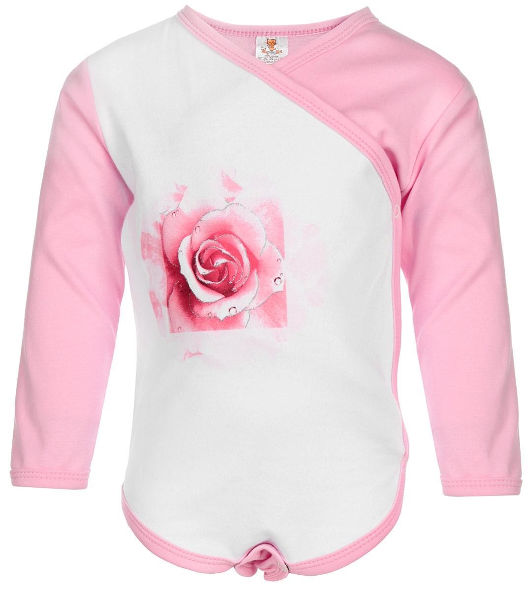 Боди для девочки КотМарКот, цвет: розовый, белый. 9863. Размер 86, 12-18 месяцев9863Удобное боди для девочки КотМарКот послужит идеальным дополнением к гардеробу вашей малышки, обеспечивая ей наибольший комфорт. Боди с длинными рукавами и V-образным вырезом горловины изготовлено из натурального хлопка-интерлок, благодаря чему оно необычайно мягкое и легкое, не раздражает нежную кожу ребенка и хорошо вентилируется. Модель дополнена запахом и застежками-кнопками по левому боку и на ластовице, что помогает с легкостью переодеть малышку или сменить подгузник. Спереди изделие украшено изящной розой с добавлением блеска. Горловина, запахи, край рукава и пройма для ножек дополнены трикотажной бейкой.Боди полностью соответствует особенностям жизни ребенка в ранний период, не стесняя и не ограничивая его в движениях. В нем ваша малышка всегда будет в центре внимания.