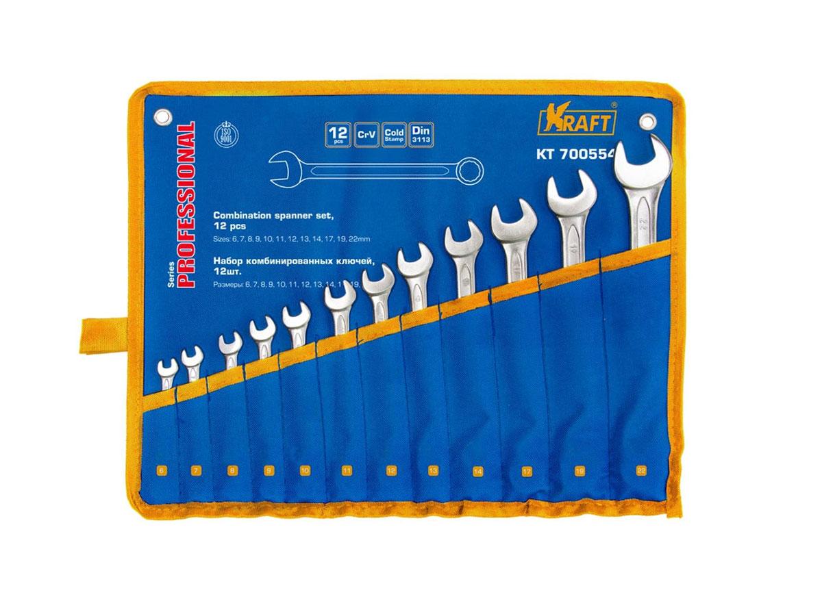 Набор комбинированных гаечных ключей Kraft Professional, 6 мм - 22 мм, 12 штКТ700554Набор комбинированных гаечных ключей Kraft Professional предназначен для профессионального применения в решении сантехнических, строительных и авторемонтных задач, а также для бытового использования. Ключи изготовлены из хромованадиевой стали.Размеры ключей входящих в набор: 6 мм, 7 мм, 8 мм, 9 мм, 10 мм, 11 мм, 12 мм, 13 мм, 14 мм, 17 мм, 19 мм, 22 мм. Комбинированный ключ представляет собой соединение рожкового и накидного гаечных ключей. Обе стороны комбинированного ключа имеют одинаковый размер. Комбинированный ключ - это необходимый предмет в каждом доме.