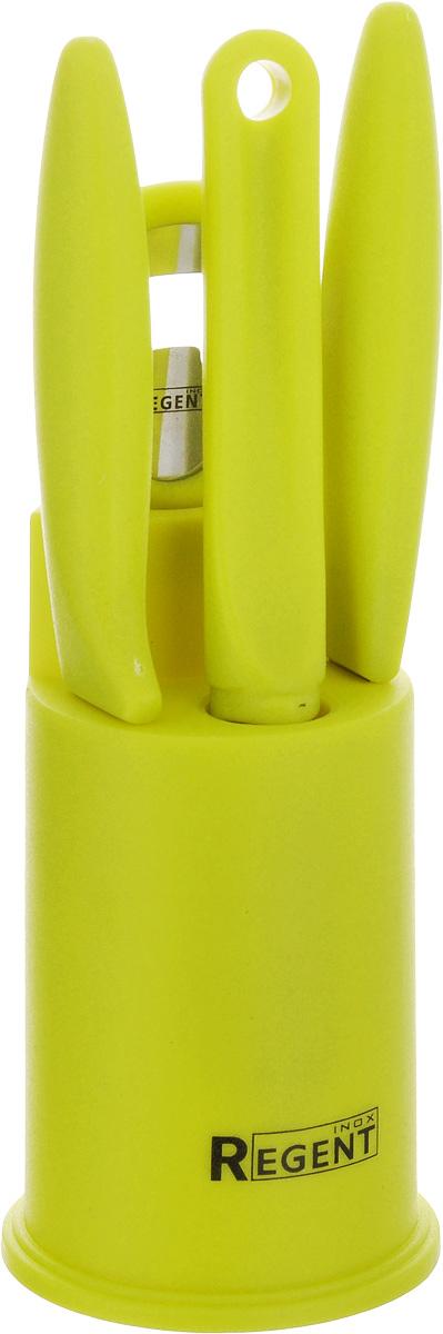 Набор кухонных принадлежностей Regent Inox Presto, 5 предметов93-PP-S5-01Набор кухонных принадлежностей Regent Inox Presto послужит прекрасным дополнением к оборудованию современной или традиционной кухни. Набор состоит из ножа для овощей, универсального ножа, овощечистки, открывалки и подставки, на которой располагаются предметы набора. Рабочие части выполнены из высококачественной стали. Ручки - из пластика.Эксклюзивный дизайн, эстетичность и функциональность набора Regent Inox Presto позволят ему занять достойное место среди кухонного инвентаря.Можно мыть в посудомоечной машине.Длина открывалки: 15,5 см.Размер подставки: 7,5 х 7,5 х 12,5 см.Длина овощечистки: 17,5 см.Длина лезвия овощечистки: 4,5 см.Длина ножа для овощей: 19,5 см.Длина лезвия ножа для овощей: 8,7 см.Длина универсального ножа: 20 см.Длина лезвия универсального ножа: 9,2 см.