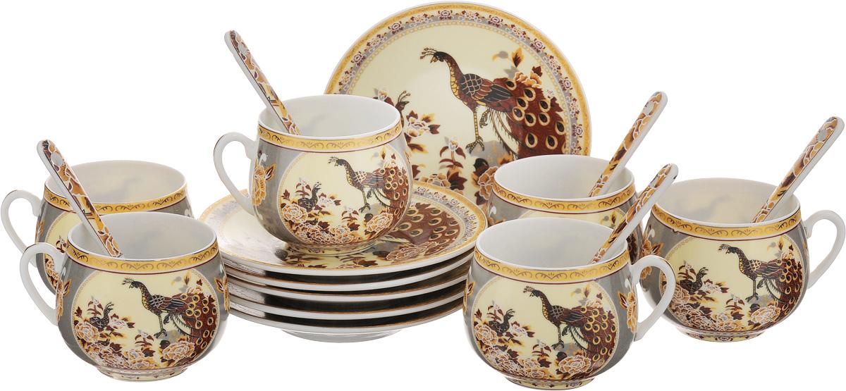 Набор кофейный Elan Gallery Павлин, с ложками, цвет: бежевый, коричневый, 18 предметов730430Кофейный набор Elan Gallery Павлин состоит из 6 чашек, 6 блюдец и 6 ложек. Изделия выполнены из высококачественной керамики, имеют яркий дизайн и классическую круглую форму. Такой набор прекрасно подойдет как для повседневного использования, так и для праздников. Набор Elan Gallery Павлин - это не только изящный и полезный подарок для родных и близких, а также великолепное дизайнерское решение для вашей кухни или столовой. Не использовать в микроволновой печи.Диаметр чашки (по верхнему краю): 5,5 см. Высота чашки: 5,5 см. Диаметр блюдца (по верхнему краю): 11,5 см. Высота блюдца: 1,8 см.Объем чашки: 130 мл.Длина ложки: 10 см.
